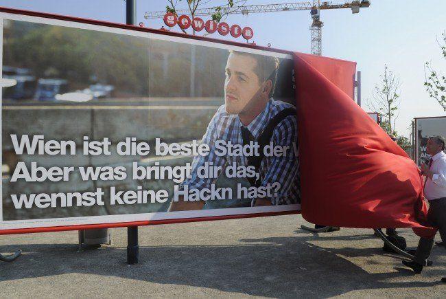 Bei der Präsentation der SPÖ-Werbeplakate.