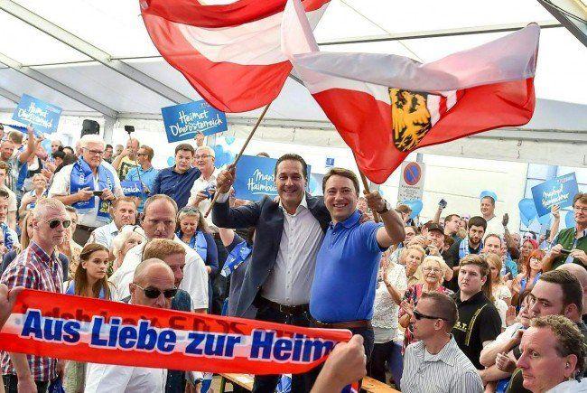 FPÖ-Wahlkampfauftakt in Oberösterreich mit Haimbuchner und Strache.
