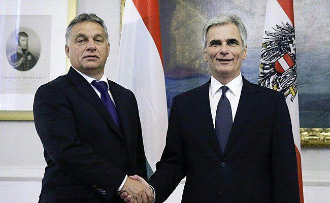 Bundeskanzler Werner Faymann (r.) und der ungarische Ministerpräsident Viktor Orban (l.) am Freitag in Wien