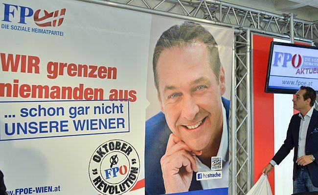 FPÖ-Bundesparteiobmann Heinz-Christian Strache bei der Plakatpräsentation
