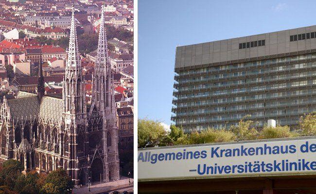 Zwei Wahrzeichen des Alsergrunds: Die Votivkirche und das AKH.