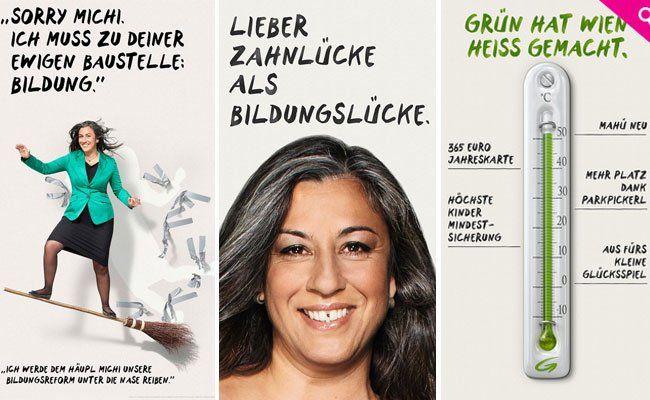 Die Sujets der Grünen - die Zahnlücke (Bildmitte) ist der neueste Streich.