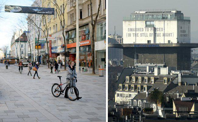 Zwei Wahrzeichen Mariahilfs: Die Mariahilfer Straße und der Flakturm.