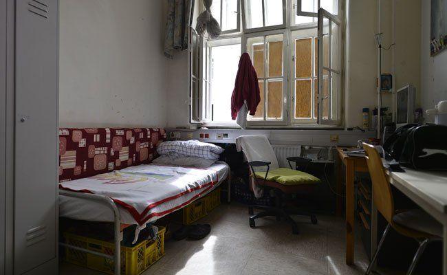 Zimmer in einer Flüchtlingsunterkunft in Wien-Margareten