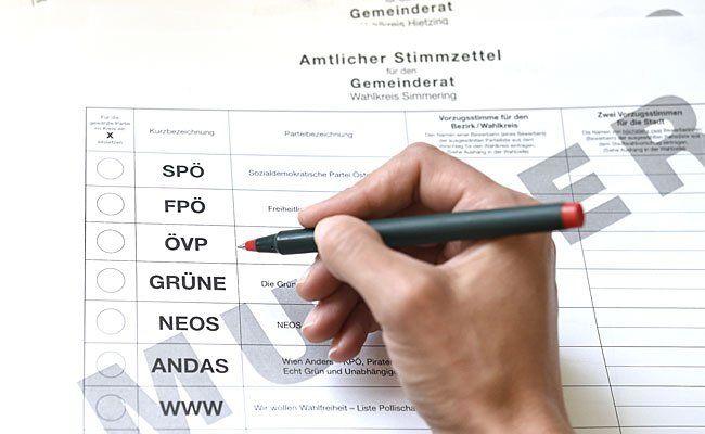 Ein Muster-Stimmzettel für die bevorstehende Gemeinderatswahl in Wien