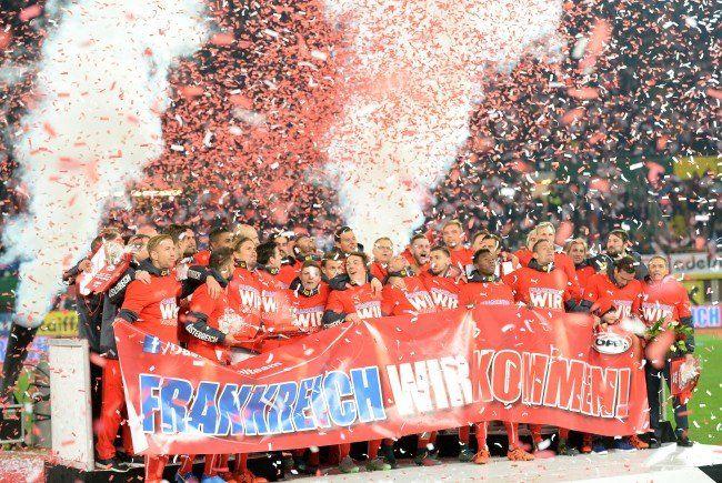 Österreichs Nationalteam und die Fans feierten die EM-Teilnahme 2016.
