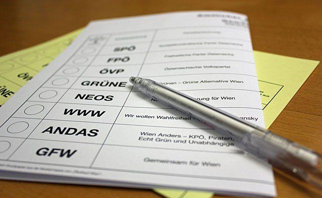 Ein Stimmzettel für die Wien-Wahl