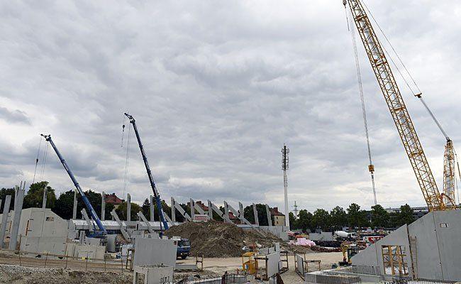 Auf der Baustelle des neuen Allianz Stadions