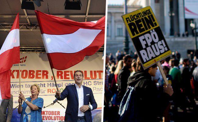 Wir berichten live von der FPÖ Schlusskundgebung und der Gegendemonstration