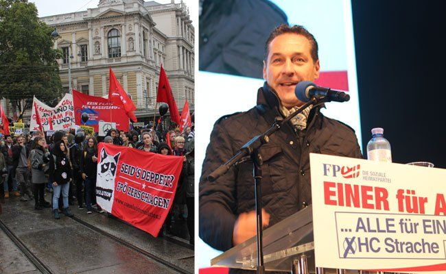 Zum FPÖ-Wahlkampffinale gab es eine Gegendemonstration