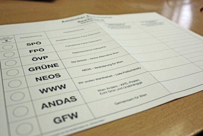 Das sind alle Listen bei der Wien-Wahl 2015 im Überblick.