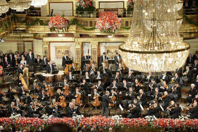 Die Wiener Philharmoniker im Wiener Musikverein.