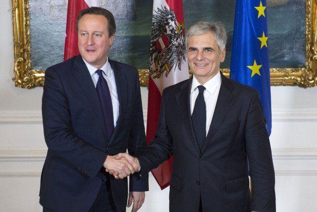 Der britische Premier Cameron mit Faymann in Wien.