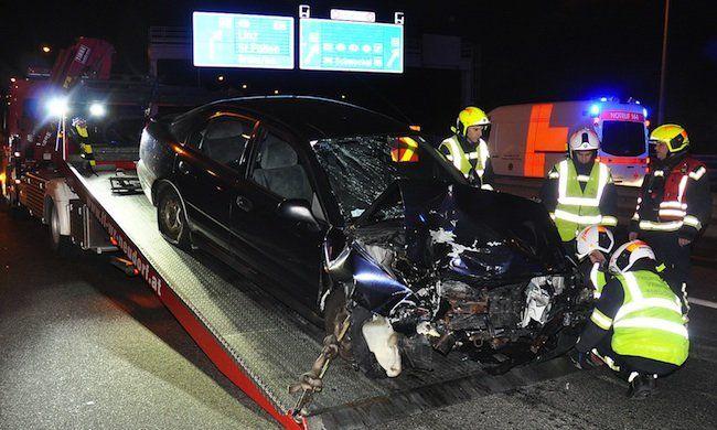 Der Unfallwagen auf der A2