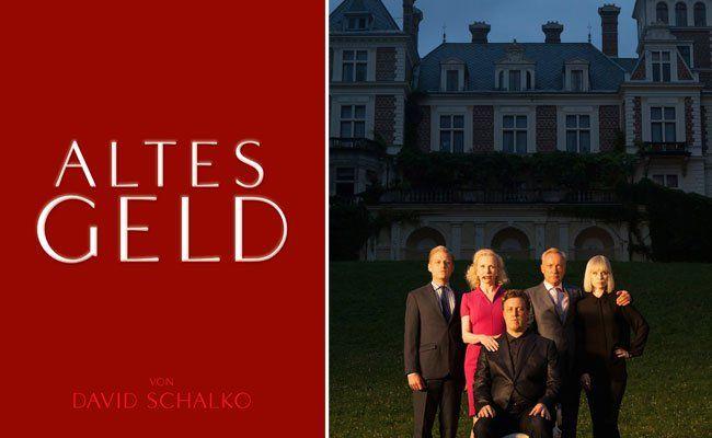 """Familie Rauchensteiner in """"Altes Geld"""": Jakob (Manuel Rubey), Liane (Sunnyi Melles), Zeno (Nicholas Ofczarek), Rolf (Udo Kier) und Jana (Nora von Waldstätten)"""