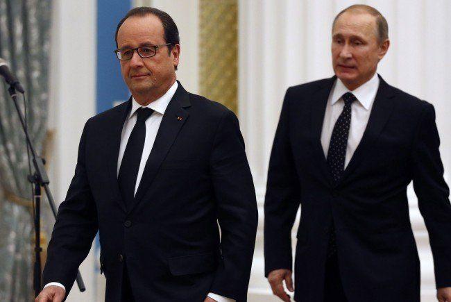 Putin und Hollande beim Treffen in Moskau.