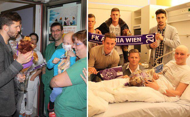 Die Spieler der Wiener Austria sorgten für Freude bei den Kindern.
