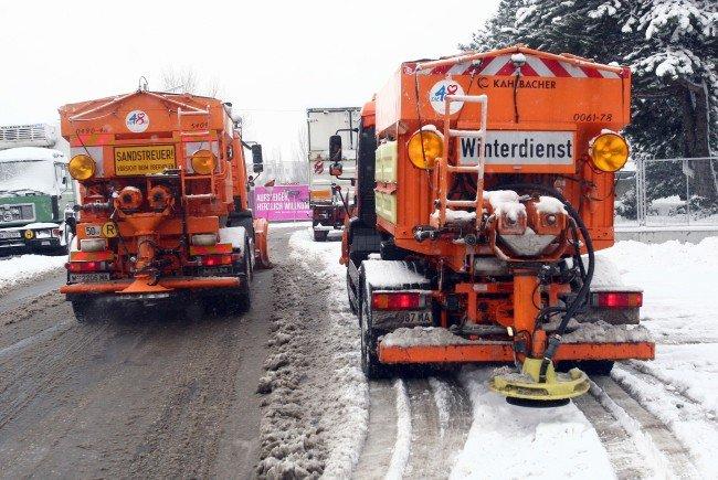 Der Neuschnee in Wien hält den Winterdienst auf Trab.