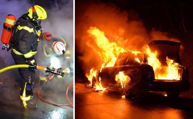 Das Auto auf der A2 brannte völlig aus.
