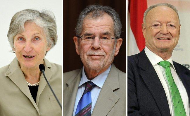 Irmgard Griss, Alexander Van der Bellen und Andreas Khol.