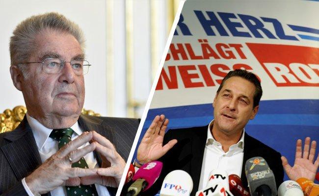 Bundespräsident Heinz Fischer ist nicht erfreut über H.C. Straches Aussage.