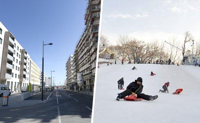 Schneewelt in der Seestadt