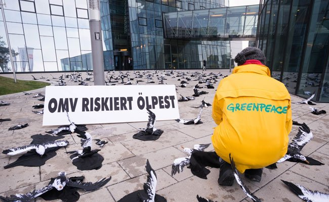 Greenpeace demonstrierte gegen Ölbohrungen in der Arktis.