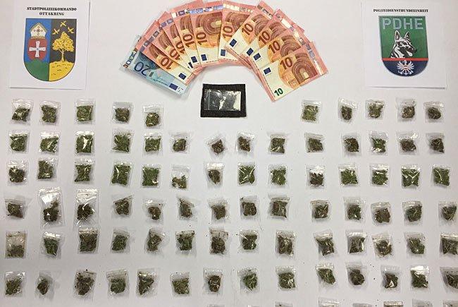 In Ottakring sichergestellte Drogen und Bargeld