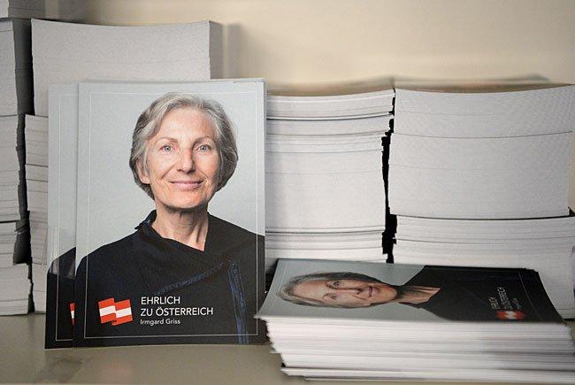 Wahlkampfmaterial im Wahlkampfbüro der Kampagne für die Bundespräsidentschaftskandidatur von Irmgard Griss