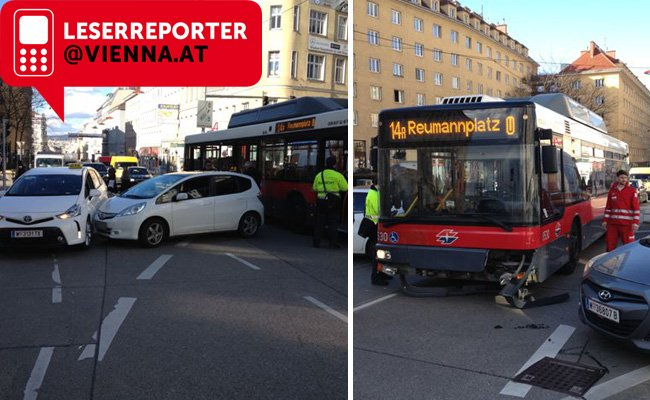 Verkehrsunfall in Wien-Margareten.