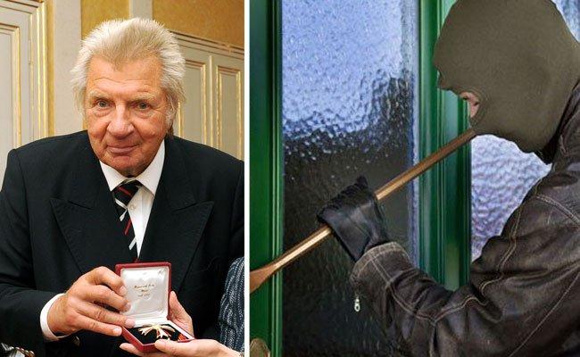 Werner Schneyder mit dem Ehrenkreuz, das ihm bei dem Einbruch gestohlen wurde