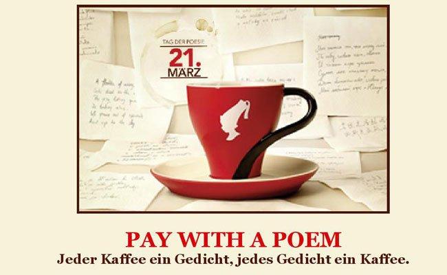 Den Kaffee mit Gedichten bezahlen