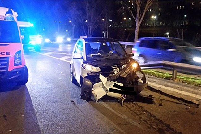 Einer der Unfallwagen in Döbling