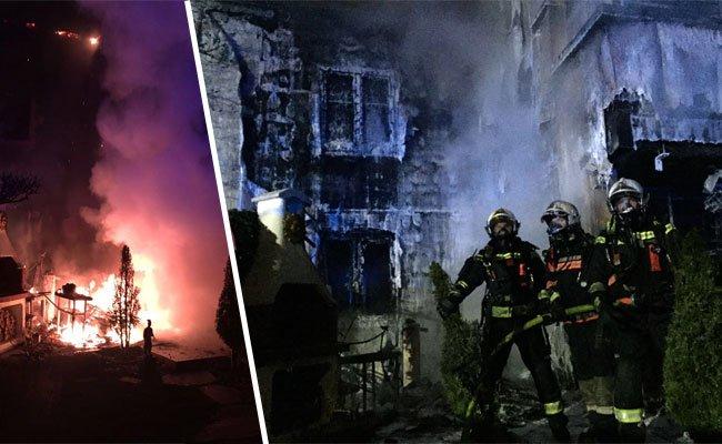 Vor Ort beim Brand in Wien-Floridsdorf.