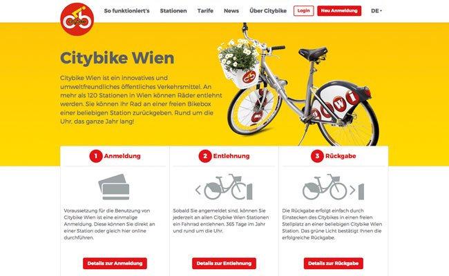 Neue Homepage mit mehr Funktionen bei Citybike Wien.