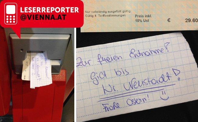 Die hinterlassene Fahrkarte im Bahnhof Traisengasse.