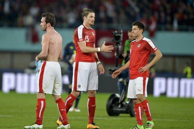 Die ÖFB-Teamkicker Christian Fuchs, Sebastian Prödl und Alessandro Schöpf.