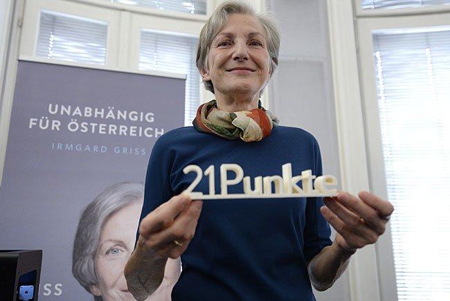 Präsidentschaftskandidatin Irmgard Griss bei der Programmpräsentation