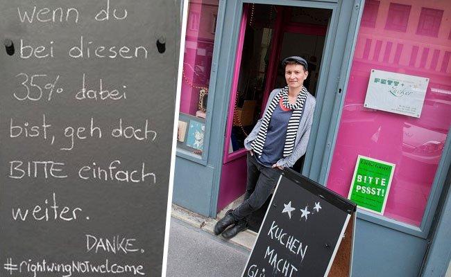 Eva T. mit ihrem Schild, das nun mit einer FPÖ-Anzeige quittiert wurde