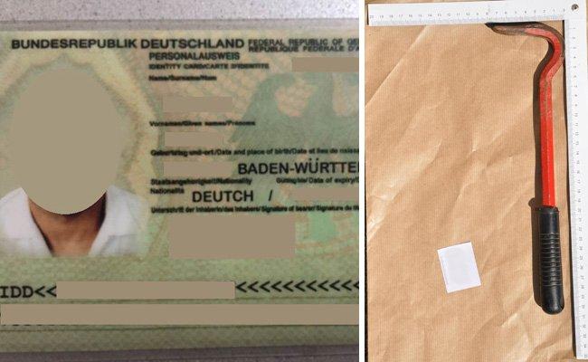 Der gefälschte Ausweis und ein sichergestelltes Einbruchswerkzeug.