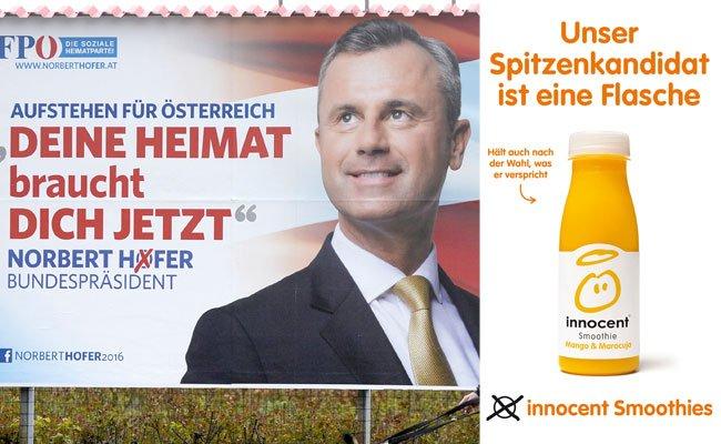 Die neuen Innocent-Sujets hängen teils Seite an Seite mit Wahlkampf-Plakaten der verschiedenen BP-Wahl-Kandidaten