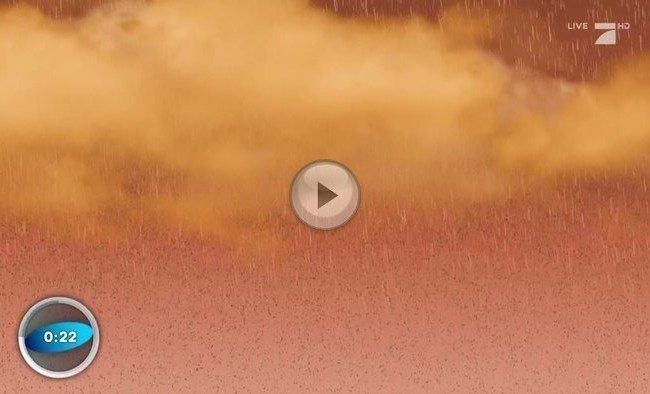 Aufgewirbelter Sahara-Sand sorgt für das Naturschauspiel des Blutregens.