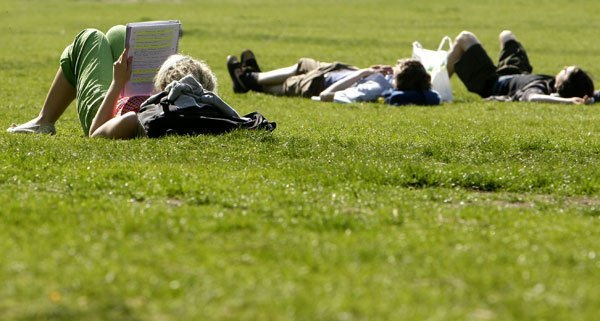 In einem Park näherte sich ein mutmaßlicher Taschendieb seinen Opfern durch die Wiese robbend