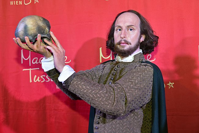 Die William Shakespeare-Wachsfigur in Madame Tussauds Wachsfigurenkabinett in Wien