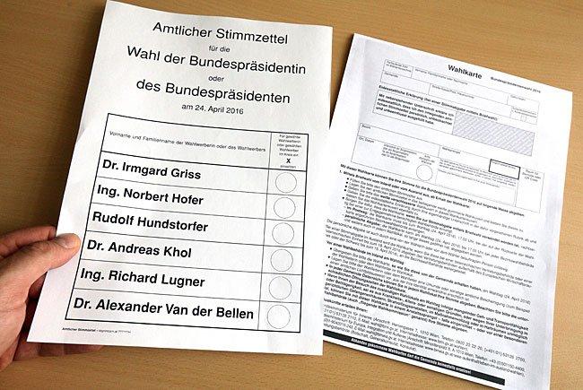 Stimmzettel und Wahlkarte für die Wahl des Bundespräsidenten
