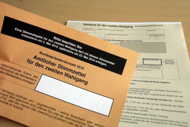 Wahlkarten nach österreichischer Behördenart