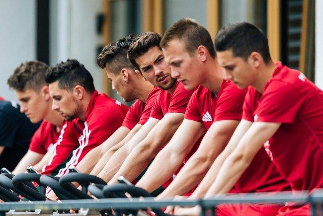 Das ungarische Team im Trainingslager in Leogang.