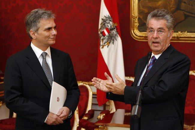 Ex-Bundeskanzler Werner Faymann und Noch-Bundespräsident Heinz Fischer.