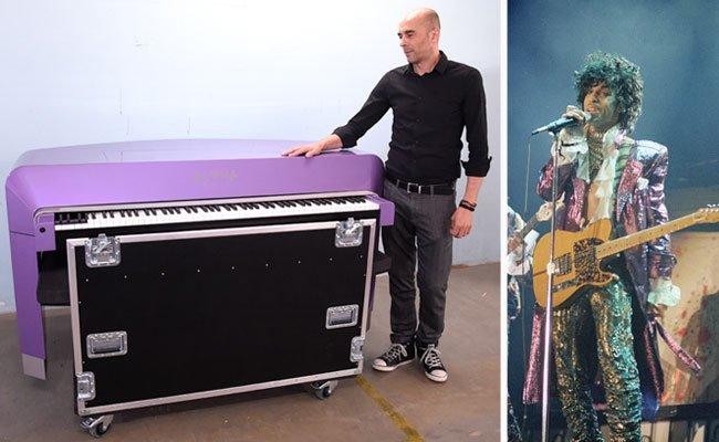 Jung-Unternehmer Mario Aiwasian mit dem für Pop-Ikone Prince (r.) hergestellten Piano