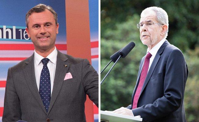 Der unterlegene Kandidat Norbert Hofer (l.) und der designierte Bundespräsident Alexander Van der Bellen.